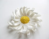 RESERVED for Margareth / crochet flower brooch  CHAMOMILE / ready for shipping