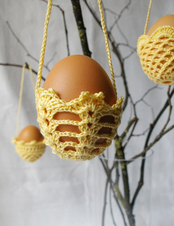 hanging crochet eggs baskets YELLOW by MIKALINOS on Etsy