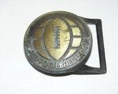 Rare Vintage Belt Buckle WORLD FOOTBALL League
