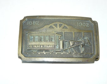 Vintage Belt Buckle BANK ADVERTISING  Trolley Car With Horses