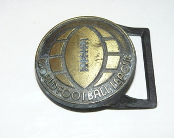 Rare Vintage Belt Buckle WORLD FOOTBALL League