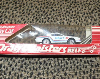 Vintage DRAG WAISTERS Belt with Toy Car 1970's Mint In Box