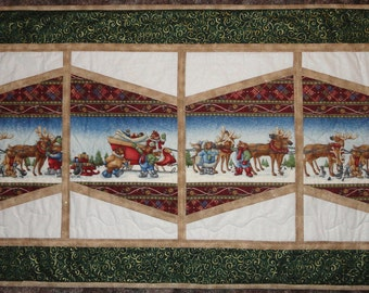 Sleigh Ride Teddy Bears mini quilt