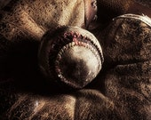What a Game, 8x10 warm toned, still life study, Fine art Photograph of Baseball, catcher's mitt and bat
