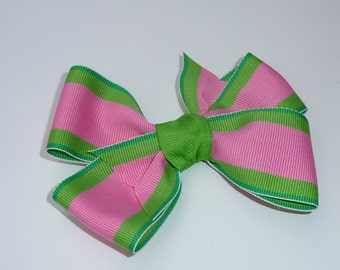 Pink and Green Boutique Hair Bow