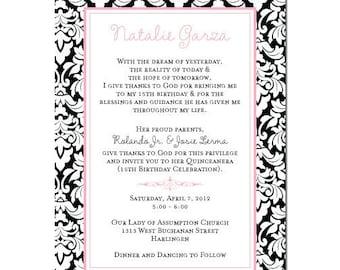 Pink and Black Damask Invitation