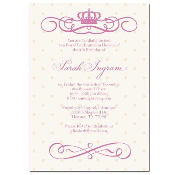 Princess Crown Invitations for adorable invitation design