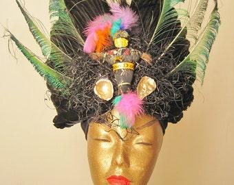 Feathered Extravagant Voodoo Headdress