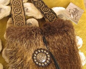 Nutria Fur Shoulder Pouch with Celtic Conchos