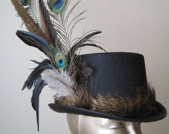 Top Hat - Felt with Nutria trim and feathers