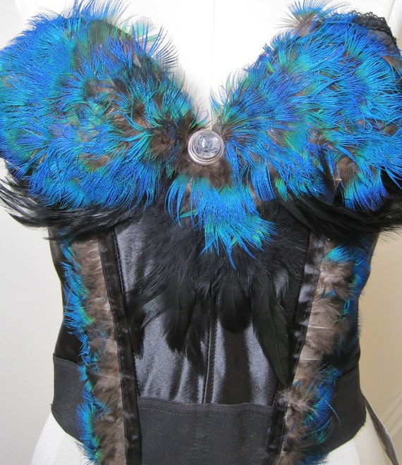 Black and Turquoise Bustier with cut crystal stone and silver ring