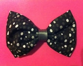 ON SALE: Black White and Grey Dots Fabric Hair Bow