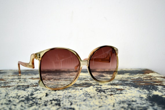 1970's Oversized Sunglasses with Rose Colored Lens