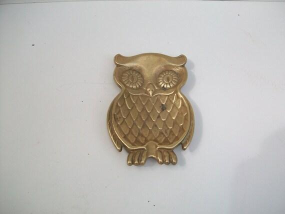 Small Brass Hoot Owl Ashtray
