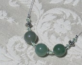 Jade, Swarovski Crystals, and Tibetan Silver Necklace and Matching Earrings Set