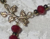 Vintage Brass Pressed Plating and Blood Red Swarovski Crystals Necklace and Earring Set