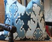 Reserved for MELINDA - Lee Jofa Kelly Wearstler Bengal Bazaar Ikat Pillow Cover  & Quadrille Navy Zig Zag Pillow Cover