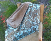"""Baby Blanket Teal and Brown Damask Print Minky with Brown Minky Backing """"Car Seat"""" Blanket"""