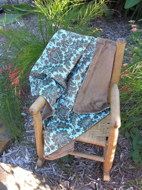 Minky Blanket Teal and Brown Damask Print Minky with Brown Minky Backing Perfect Size Blanket