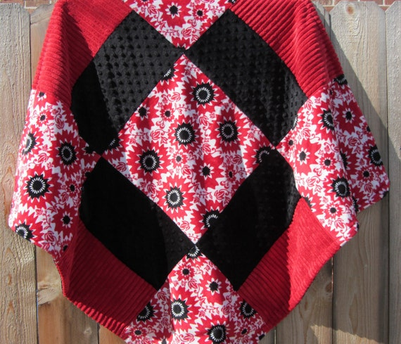 Baby Blanket Minky Red and Black Flowers with Coordinating Minky and Chenille - Great Gift for a Baby or Toddler