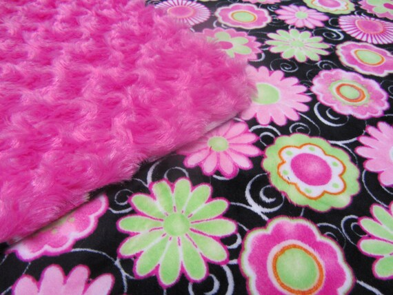 CLEARANCE - Minky Blanket - Vibrant Pink and Green Flowers on a Black Minky Background with Hot Pink Cuddle Minky Backing