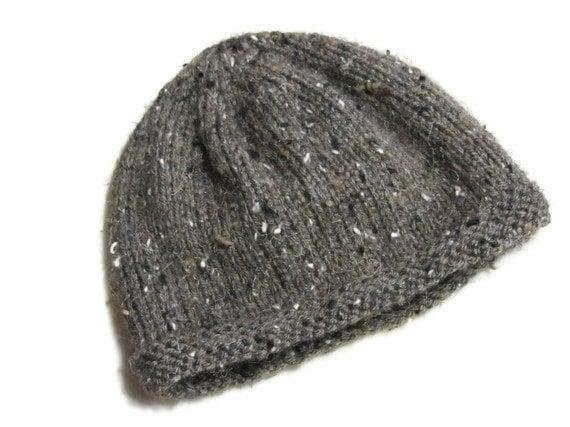 Hand Knitted Dark Brown Wool Blend Baby Hat