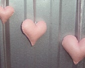 Set of 3 Light Pink Felt Hearts