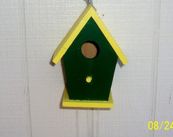 Green and Yellow Birdhouse Windchime