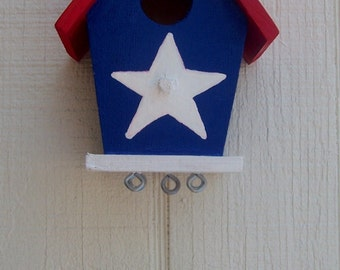 Red, White and Blue Birdhouse Windchime