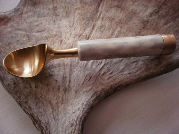 New eye catching custom made brass ice cream scoop with a natural moose antler handle decor design real kitchen