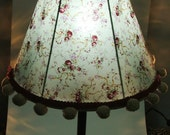Delicate Floral Cotton Fabric Table Lamp With Pom Pom