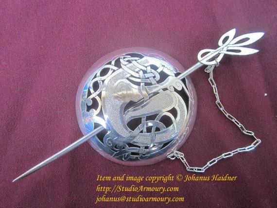 Sterling Silver Celtic Cloak Pin / Kilt Pin / Brooch