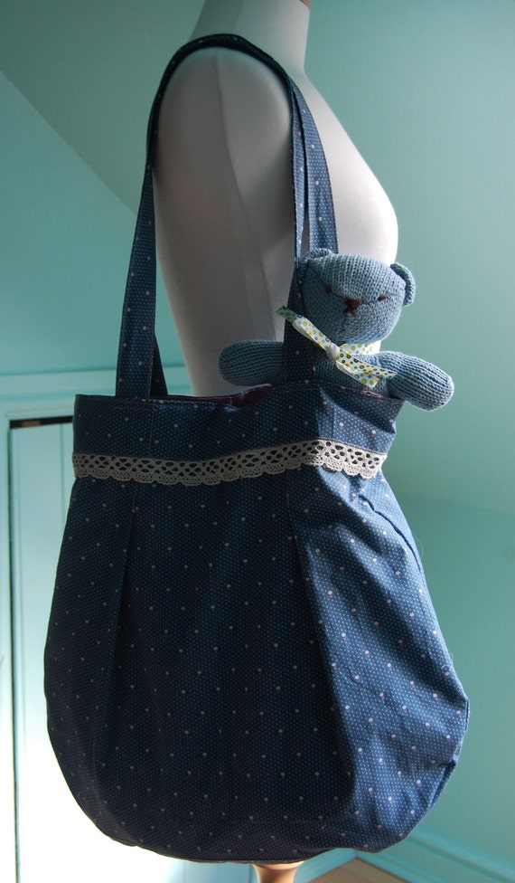large tote bag in light blue cotton for romantic every days