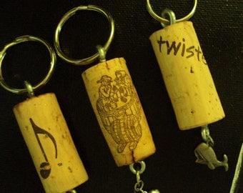 Wine cork key chain, Upcycled