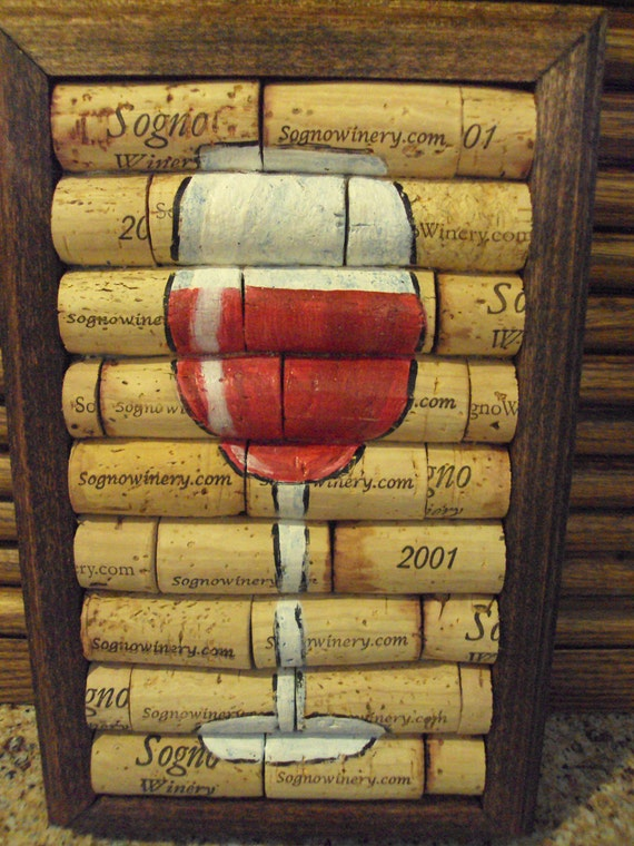 Wine cork trivet with painted wine glass recycled for What kind of paint to use for wine bottles