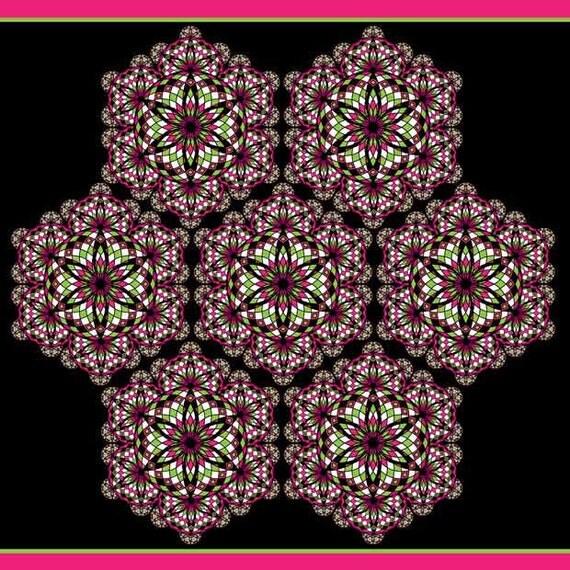 Pink and Lime Green, Black and White, Mandala Art, Geometric Pattern, Energy Art, Psychedelic Pattern, Square Artwork, Kaleidoscope Print