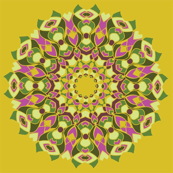 Mustard Yellow, Olive Green, Hot Pink, Mandala Art, Kaleidoscope Art, Starburst Print, Square Artwork, Detailed Design, Cheerful colors