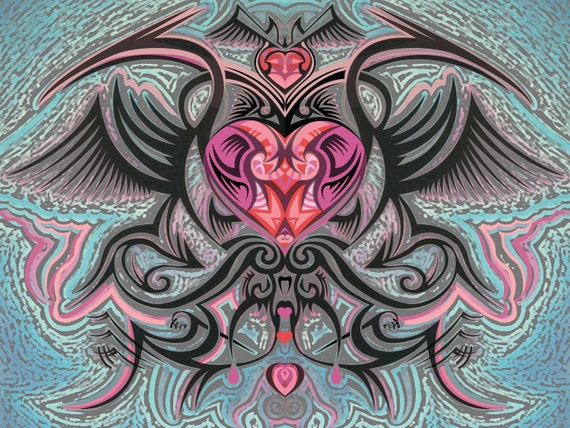 A Tattooed Kind of Love, Digital Painting, Tribal Heart, Tribal Design, Stylized Heart, Red and Pink Heart, Heart with Wings, Tribal Heart