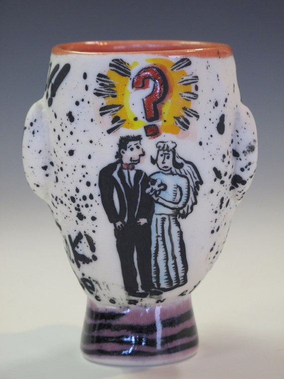 tattooed man shot glass /  marriage MATURE ADULTS ONLY