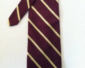 Vintage Brooks Brothers Burgundy Tie with Yellow Stripes - Made in USA - Striped Necktie