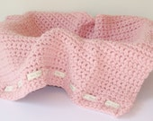 "Chunky Handmade Pink Crochet Baby Blanket 24"" x 22"" - Ideal PHOTO PROP by Cwtch Bugs"