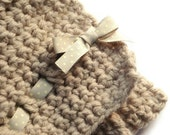"""Chunky Handmade Crochet Baby Blanket in Soft Beige 24"""" x 22"""" - Ideal PHOTO PROP or Newborn Gift Idea from Cwtch Bugs"""