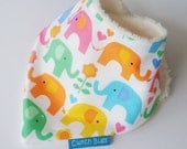 Baby Bandana Bib ELEPHANTS & FLOWERS with Organic Bamboo Terry - A Great Baby Gift Idea by Cwtch Bugs