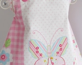 Handmade Baby Apron Pinafore Dress - Butterfly & Roses and White and Pink Polka Lining - CWTCH BUGS - UK Seller
