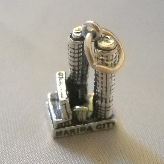 Sterling Silver Charm - Marina City Buildings in Chicago Souvenir for Bracelet or Necklace