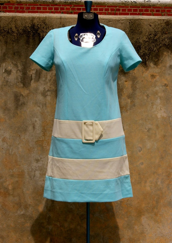 Tiffany's Blue and White Stiped Mod 60's Dress FREE SHIPPING