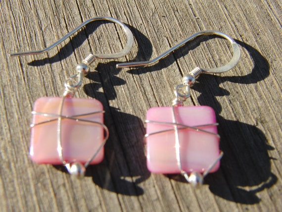 Sterling Silver Wire Wrapped Earrings pink shell