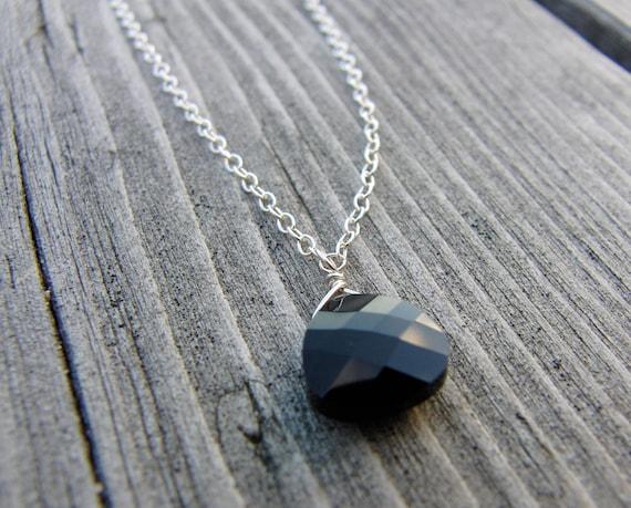 Black Swarovski Crystal Briolette Pendant Necklace