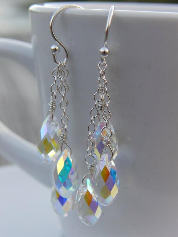 Swarovski Crystal Cluster Earrings: AB Crystal Briolettes, Sterling Silver