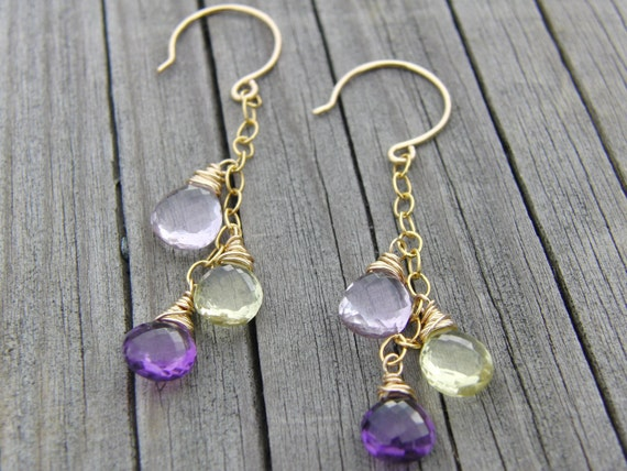 Amethyst Jewelry, Lemon Quartz, Pink Amethyst, Gold Earrings AAA
